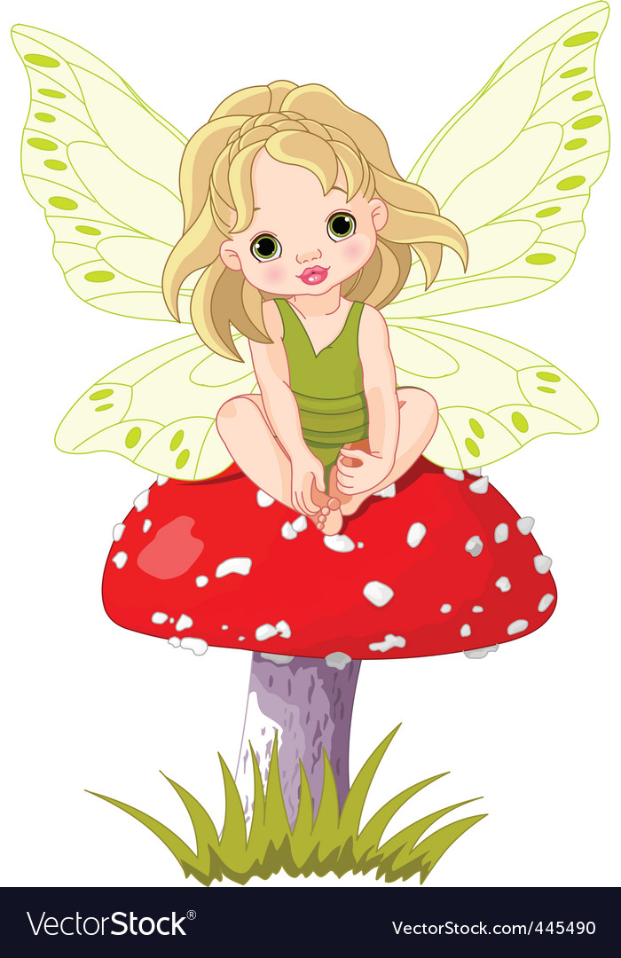 Baby fairy on the mushroom vector