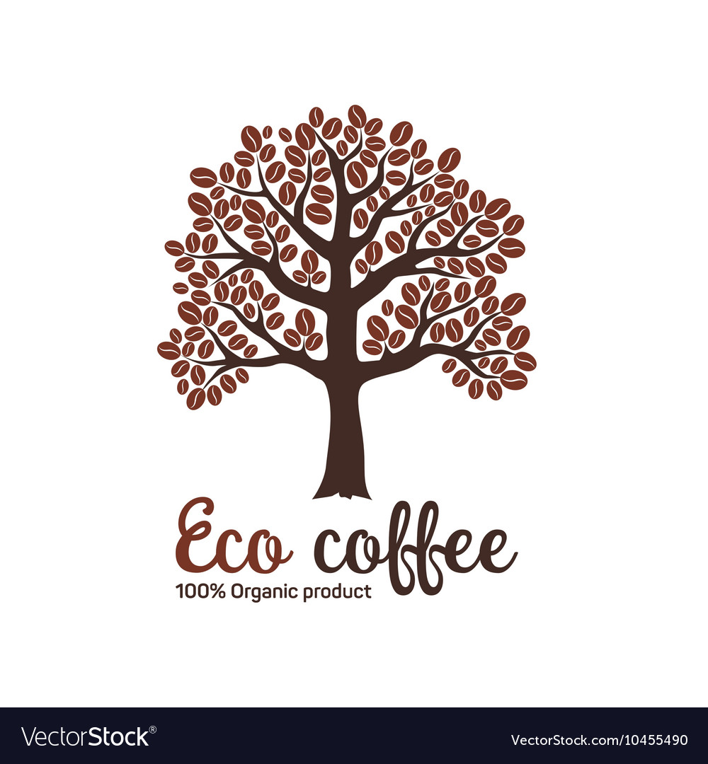 Hand drawn graphic coffee tree with grains vector