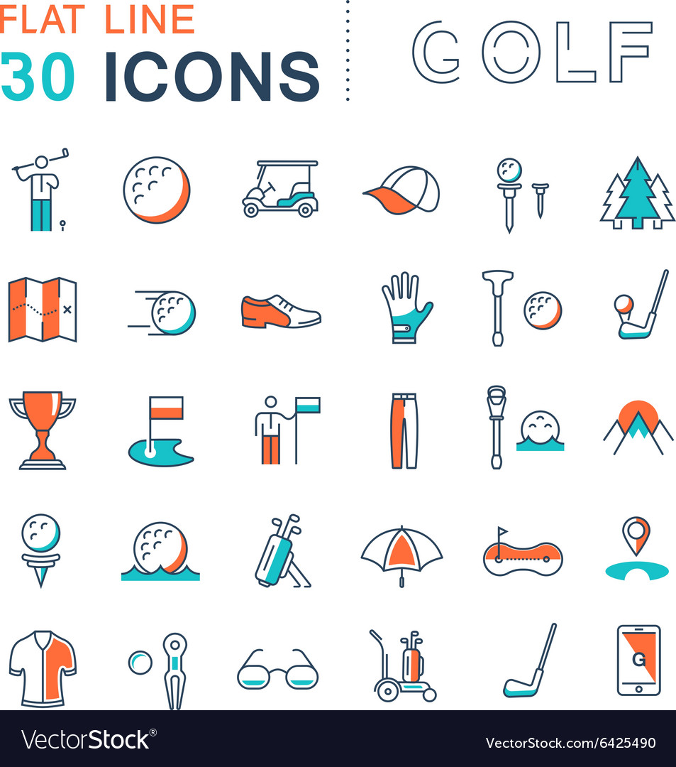 Set flat line icons golf vector