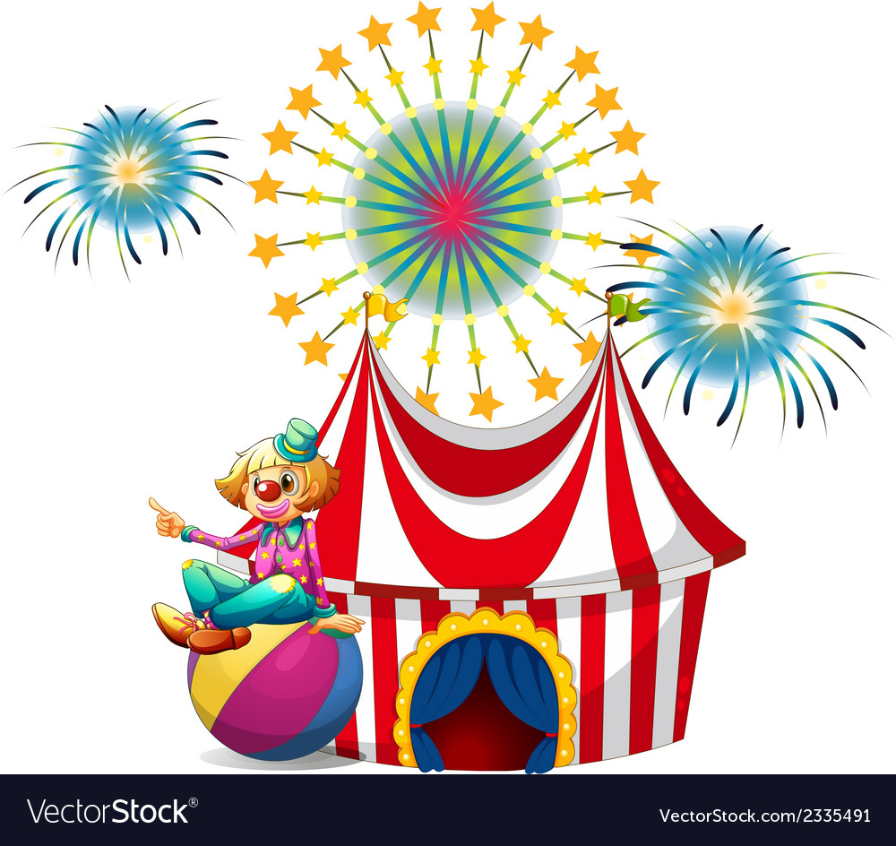 A clown sitting above the ball at the carnival vector