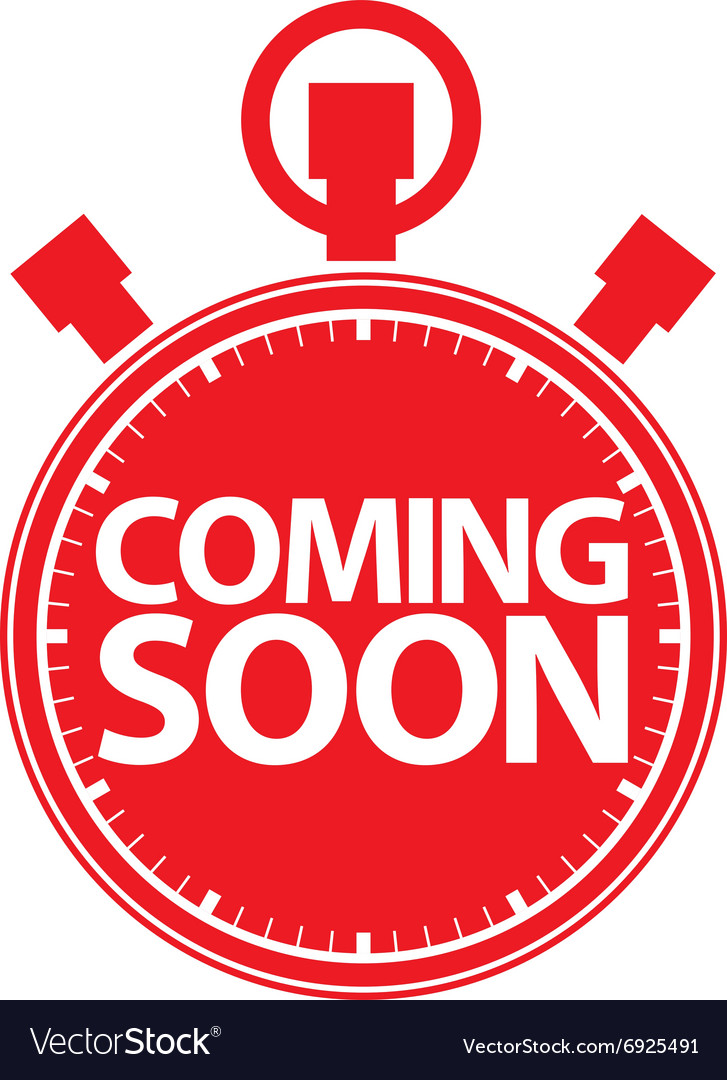 Coming soon stopwatch red icon vector