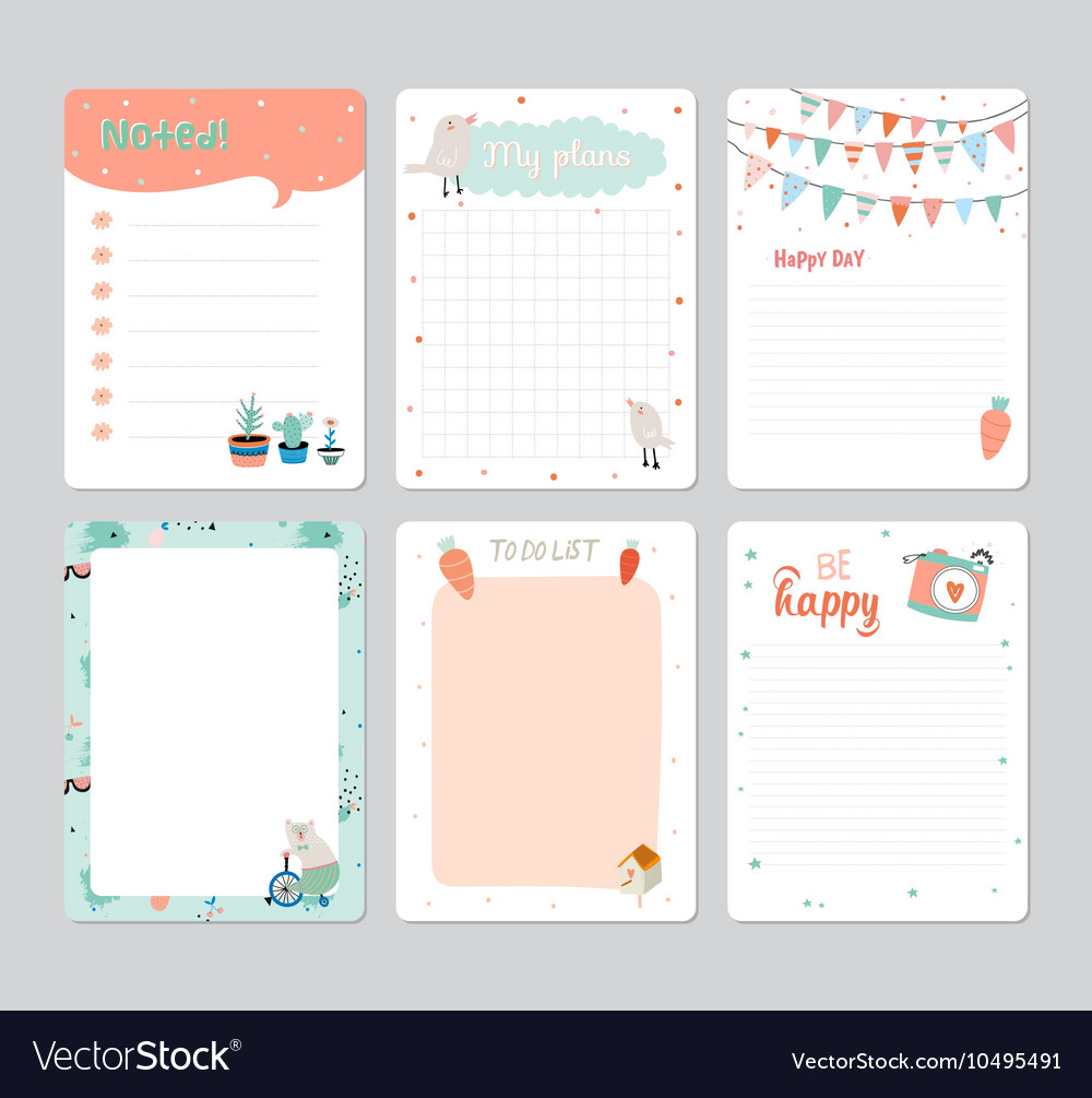 Cute calendar daily planner vector