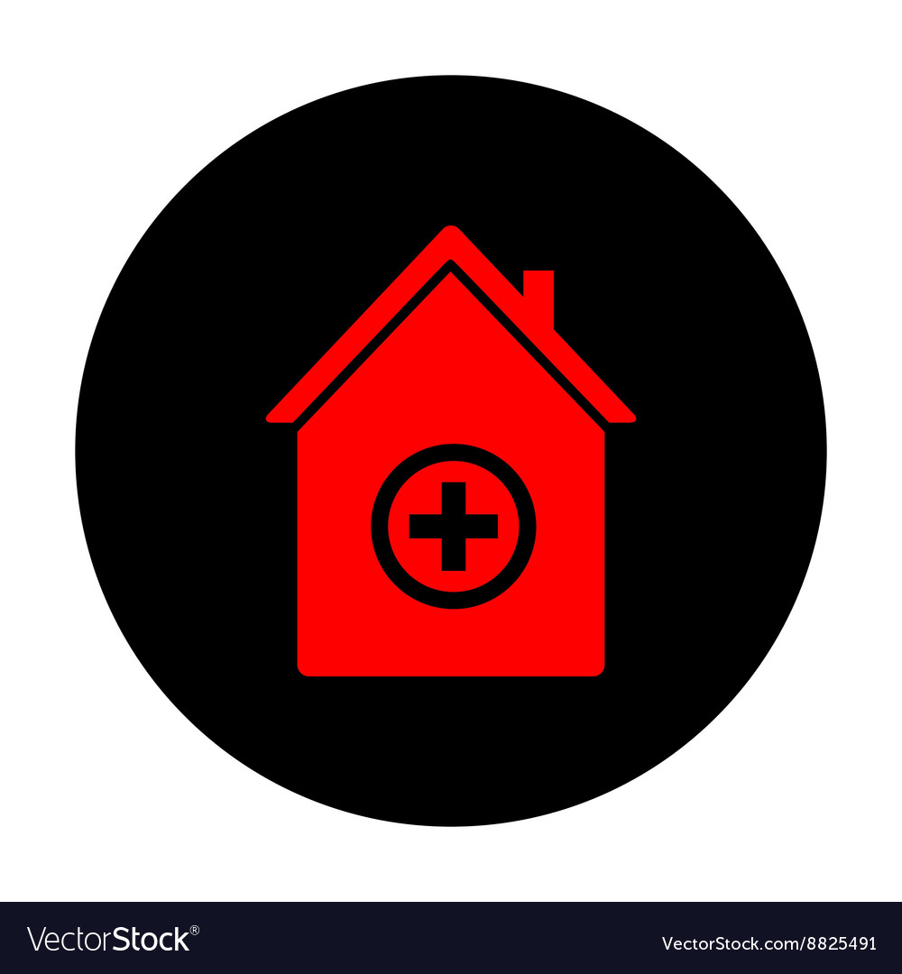 Hospital sign red icon vector