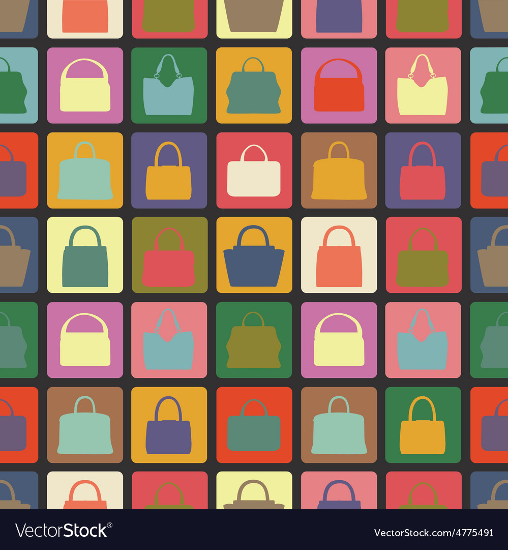 Silhouettes of handbag flat iconsseamless vector