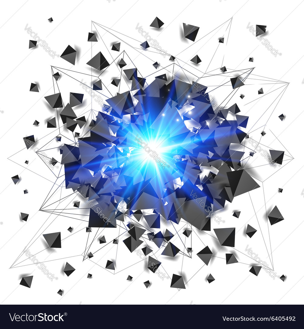Black pyramids and blue fire explosion isolated on vector