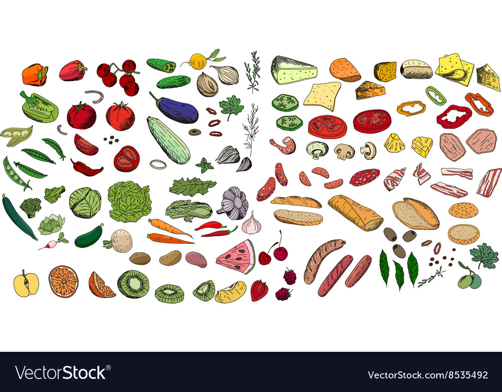 Fresh ingredients  vegetables cheese mushrooms vector