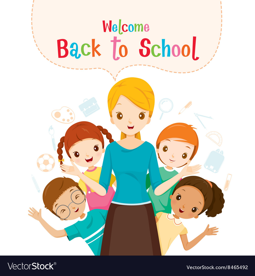 Welcome back to school teacher and student vector