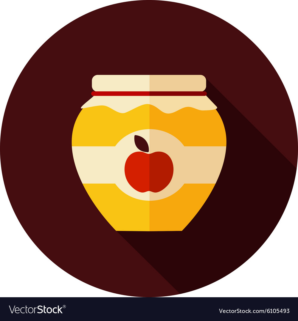 Apple jam jar flat icon with long shadow vector
