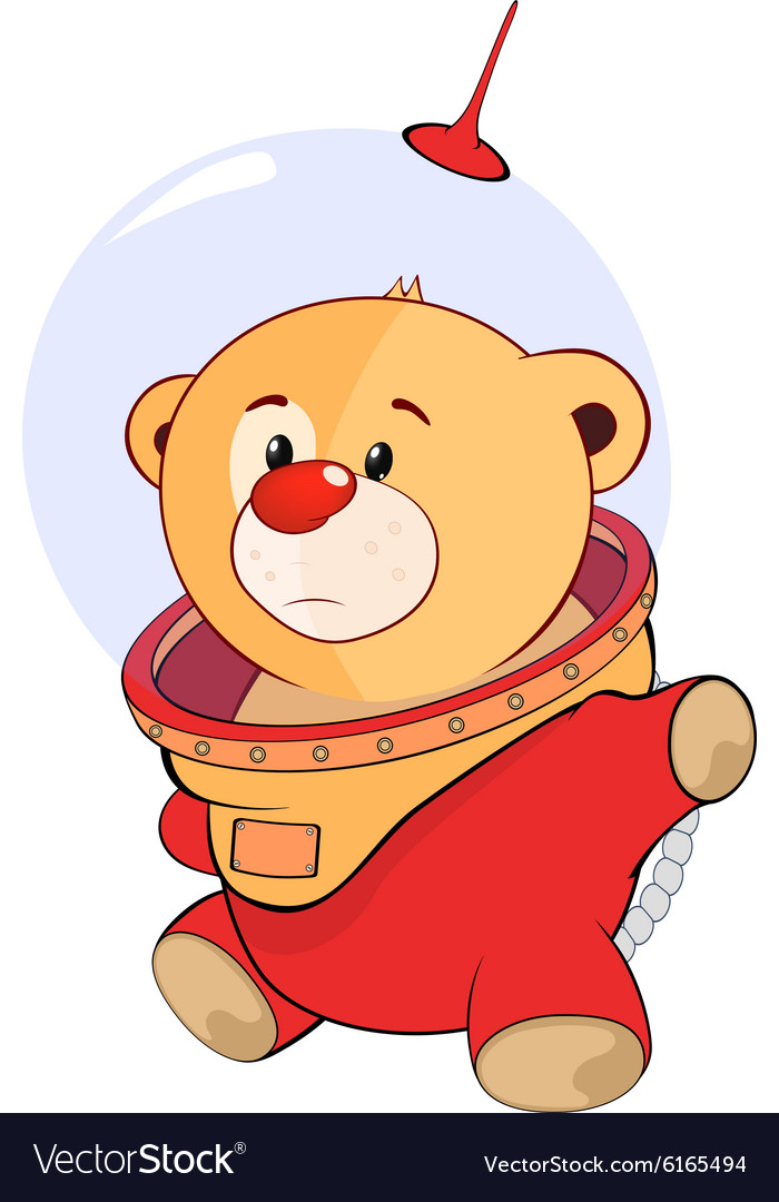 Cute stuffed toy bear cub cartoon vector