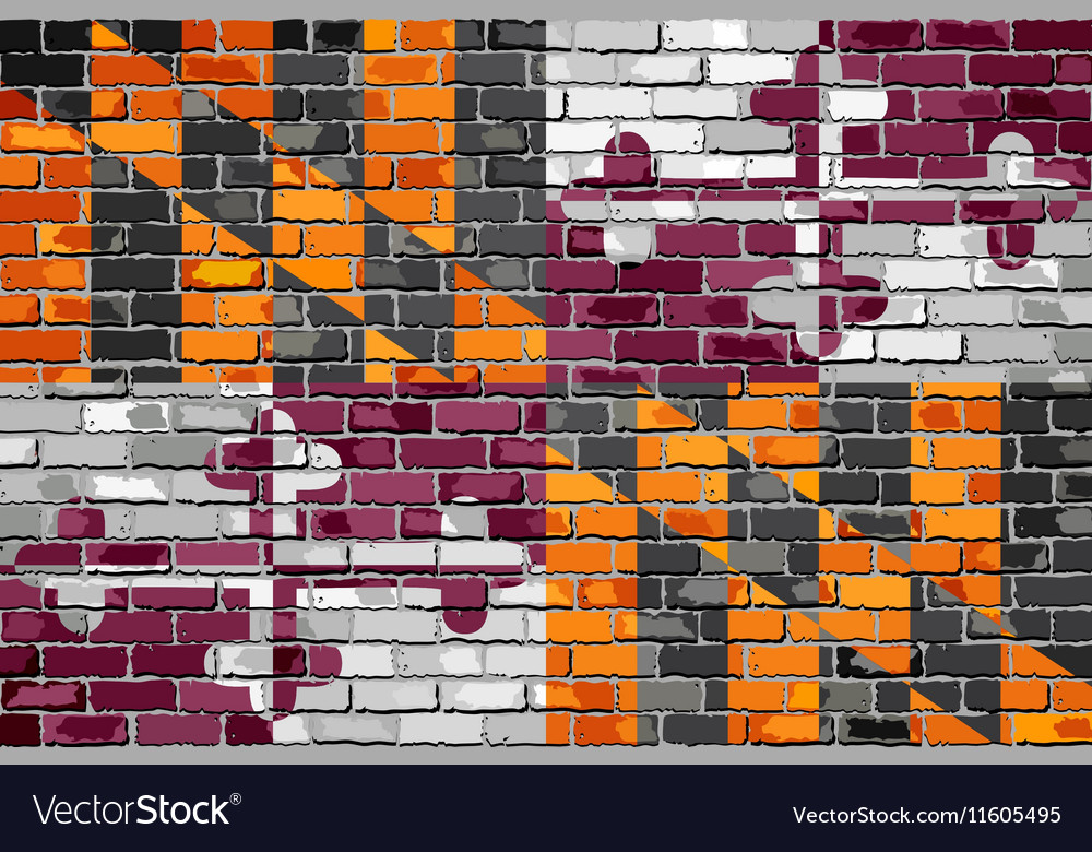 Maryland state flag on a brick wall vector