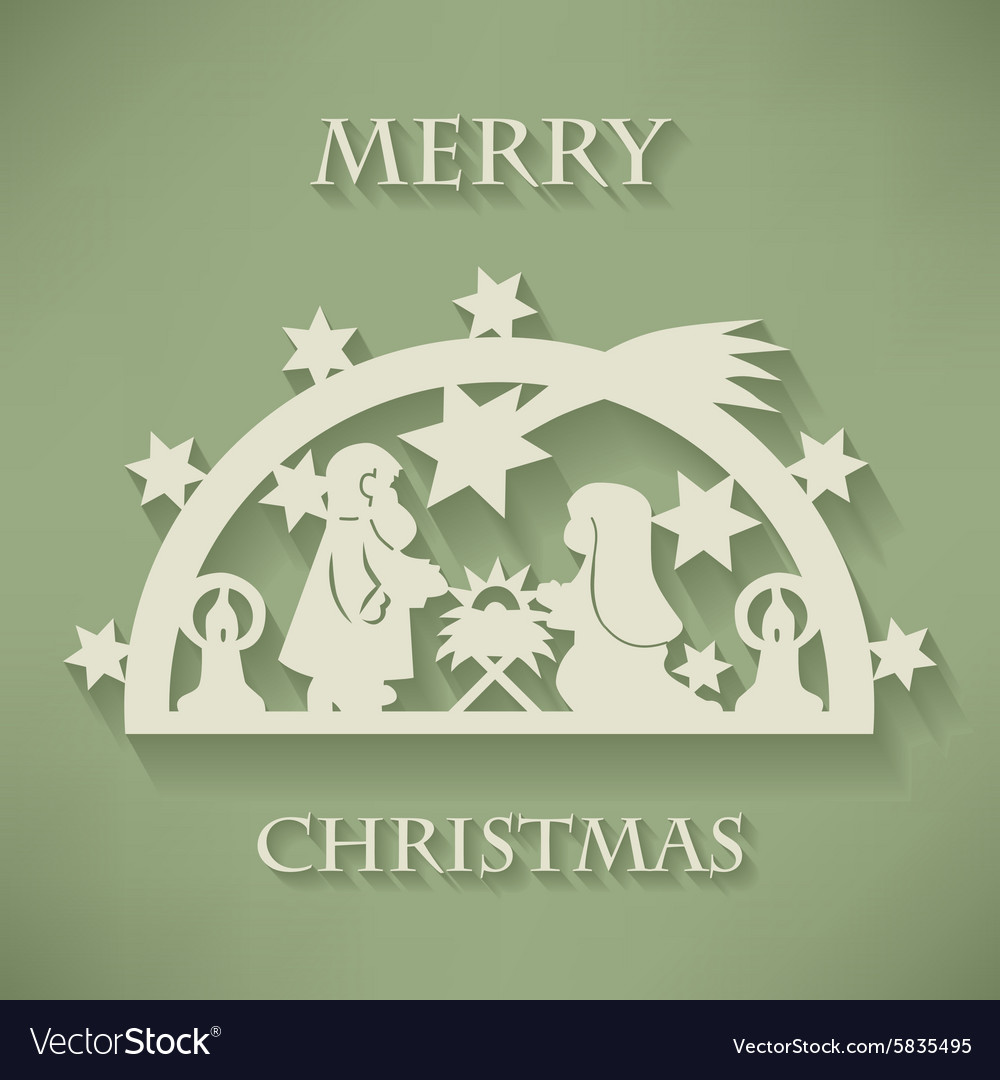 Nativity scene paper cut christmas background vector