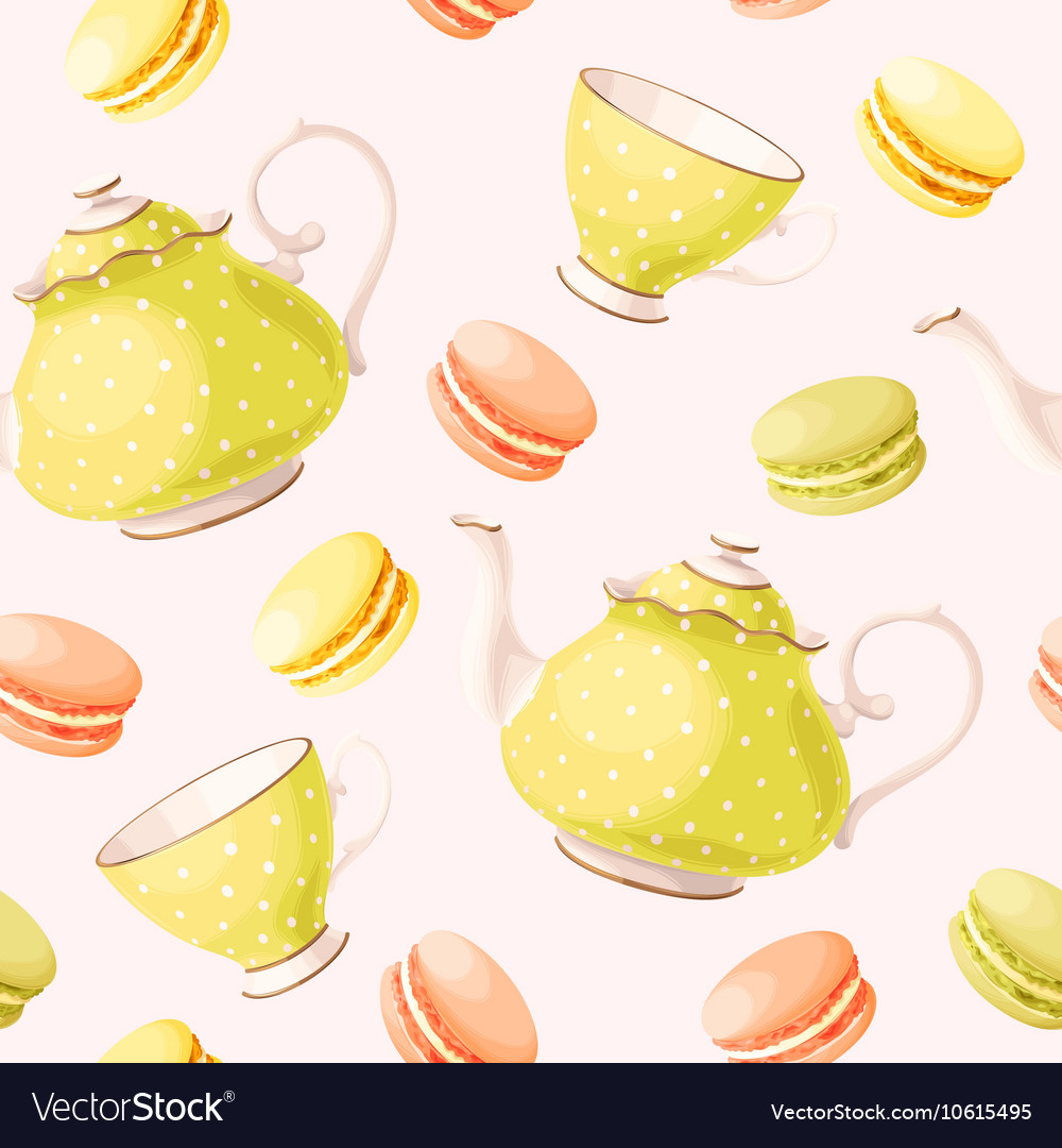 Seamless pattern with tea pots and cups vector