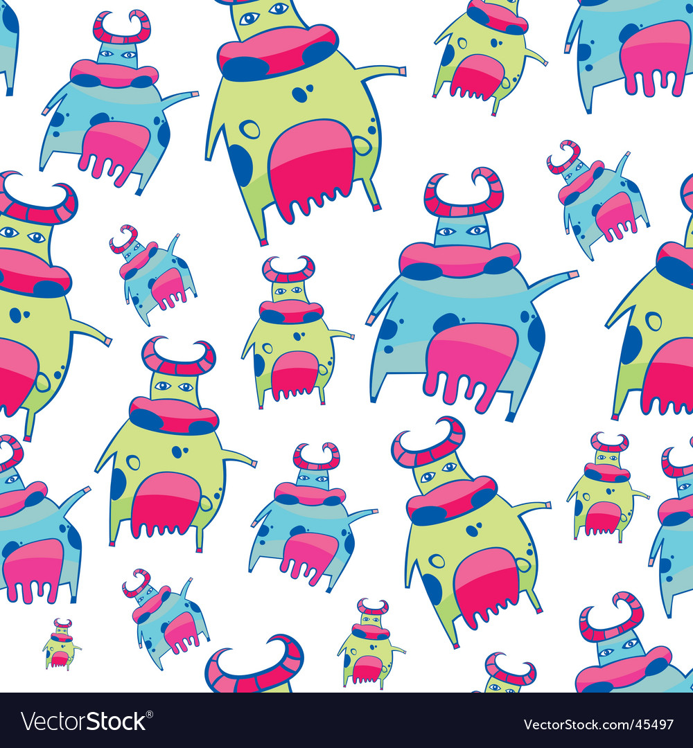 Cute friendly cow pattern vector