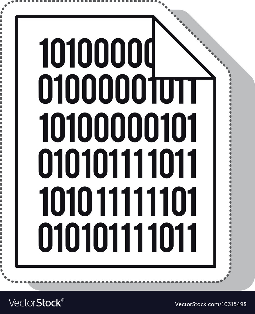 Paper binary code isolated icon vector