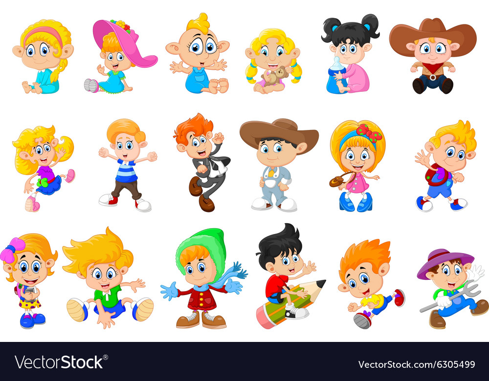 Collection of happy children vector
