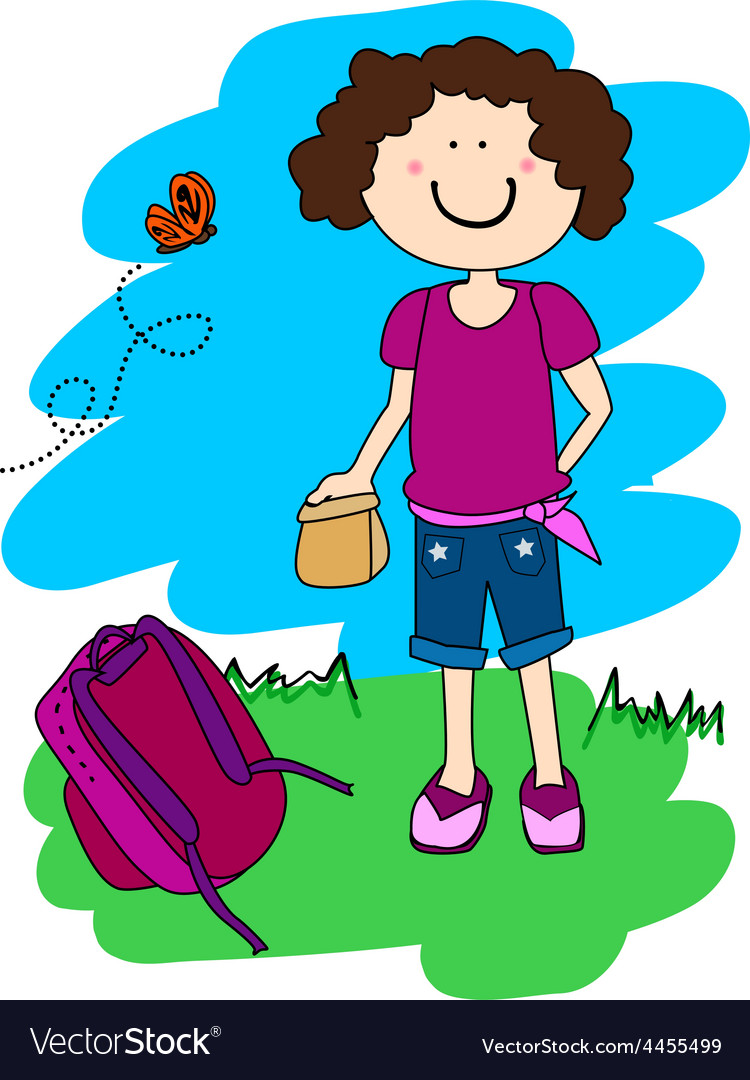 Little girl with lunch and back pack vector