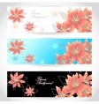 Set Flowers banners on white blue black background vector image vector image