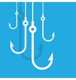 Fishing hooks concept background vector image