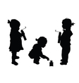 child set with coffee silhouette vector image
