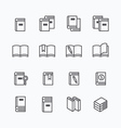 Book flat line icons design set vector image