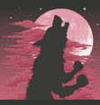 werewolf silhouette howling at moon vector image