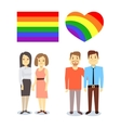 happy gay LGBT pairs with rainbow flag and vector image