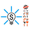 business idea bulb icon with valentine bonus vector image