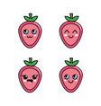 kawaii strawberry diferents faces icon vector image