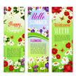 happy summer floral greeting banner set design vector image
