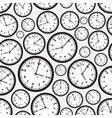 time zones black and white clock seamless pattern vector image