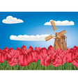 Windmill and Tulips4 vector image