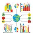 Set diagrams elements business planet vector image