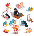set of isometric hacker icons vector image