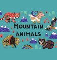 set of mountain animals vector image