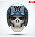 human skull with retro chopper helmet vector image