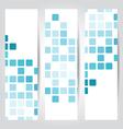 Set blue mosaic tile cards vector image