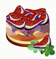 polygonal cake with figs vector image