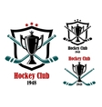 Ice hockey sporting symbols and emblems vector image