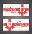 Sale coupon or gift voucher with red ribbon gift vector image