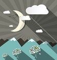 Flat Design Mountains and Moon Landscape vector image