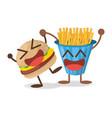 kawaii burger french fries fast food vector image