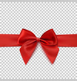 realistic red bow and isolated on transparent vector image
