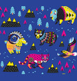 seamless pattern with mountain animals vector image