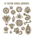 Set of henna elements based on traditional Asian vector image