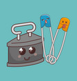 sewing elements funny characters vector image