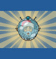 space helmet with santa claus astronaut vector image