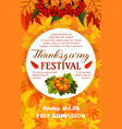 thanksgiving day festival banner of autumn harvest vector image