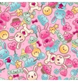 Seamless kawaii child pattern with cute doodles vector image