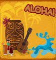 Vintage postcard with featuring Hawaiian masks vector image