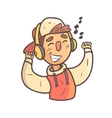 Dancing Boy In Cap And College Jacket Hand Drawn vector image